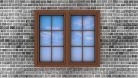 Plastic venster op een bakstenen muur Stock Afbeeldingen