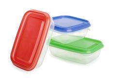 Plastic voedselcontainers Stock Afbeeldingen