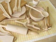 Plastic vrij die keukengerei van hout wordt gemaakt Royalty-vrije Stock Fotografie