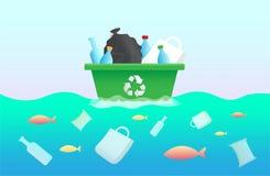 Plastic vuilniszak, fles in de oceaan Vissen van het milieuontwerp de plastic huisvuil Vectorillus van de einde oceaan plastic ve Stock Fotografie
