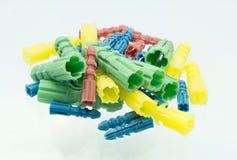 Plastic wall plugs Stock Photo