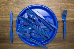 Plastic ware for picnic Stock Photos