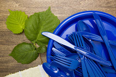 Plastic ware for picnic Royalty Free Stock Photography
