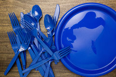 Plastic ware for picnic. Plastic disposable set of utensils for a picnic Stock Photography
