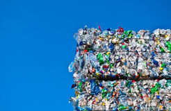 Plastic waste. On a recycling plant site Stock Photos