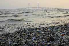 Plastic Waste around Suramadu Bridge. East Java, 25th Oct 2015: Plastic waste around Suramadu Bridge connected to the sea off Indian Ocean. Suramadu bridge Stock Image