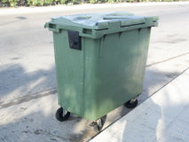 Plastic waste bin. On Spanish road side Royalty Free Stock Image