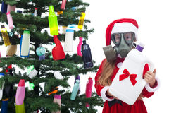 Plastic waste christmas - environmental concept Royalty Free Stock Images