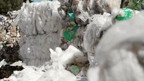 Plastic waste in the garbage dump. Close up of plastic waste in the garbage dump stock footage