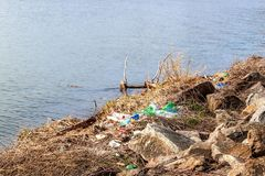 Plastic waste on the lake shore in the Czech Republic. Environmental pollution. Recycling of plastic waste.  stock photography