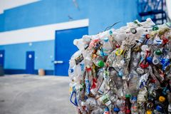 Plastic waste is in the warehouse at the garbage disposal plant. 2018 royalty free stock image