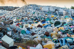 plastic wastes on waste site Royalty Free Stock Images