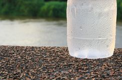 Plastic water bottle cool on the stone floor in public park background stock image