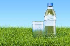 Plastic water bottle with glass of water in the green grass agai. Nst blue sky, 3d Stock Photos