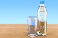 Plastic water bottle with glass of water on the wooden table. 3D Royalty Free Stock Photo
