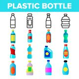 Plastic Water Bottle Linear Vector Icons Set stock illustration