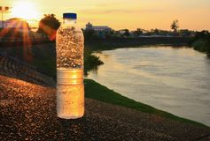 Plastic water bottle on the stone floor in a public park at sunset, sunrise time royalty free stock photos