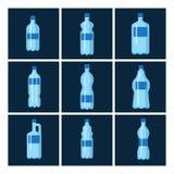 Plastic water bottle vector blank brochure nature blue clean liquid aqua fluid blank template silhouette template. Illustration. Aqua fluid template Stock Images