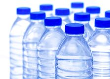 Plastic water bottles are a bright and clear. Copy space for your text Stock Photo
