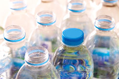 Plastic water bottles. Closeup rows and pack of Plastic water bottles Royalty Free Stock Image
