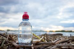 Plastic water bottles pollute ocean. Bottle on the cost royalty free stock image