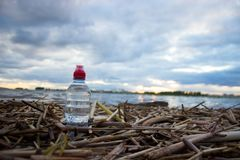 Plastic water bottles pollute ocean. Bottle on the cost stock photo