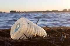 Plastic water bottles pollute ocean. Bottle on the cost stock image