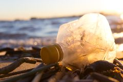 Plastic water bottles pollute ocean. Bottle on the cost royalty free stock photos