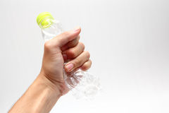 Plastic water bottles recycle in hand Stock Photos