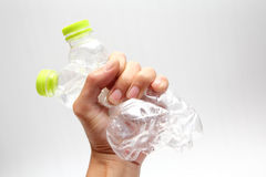 Plastic water bottles recycle in hand Royalty Free Stock Photography