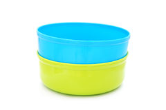 Plastic water bowls Royalty Free Stock Images