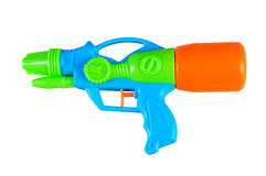 Plastic water gun. Isolated on white background royalty free stock images