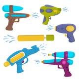 Plastic water gun  vector set. Royalty Free Stock Photo