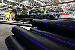 Plastic water pipe factory, industry Royalty Free Stock Photos
