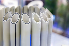 Plastic water pipes in a cut, polypropylene tube Stock Photo