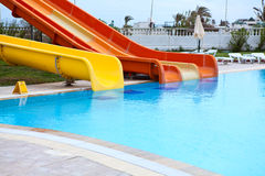 Plastic water slides stock image