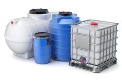 Plastic water storage tanks Royalty Free Stock Photos