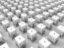 Plastic water tanks array Royalty Free Stock Images