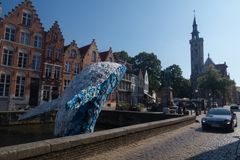 Plastic whale in Bruges, Belgium royalty free stock image
