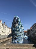 Plastic Whale at Bruges. A unique idea of focusing attention to environment was turned into Plastic Whale at the streets of Bruges, made of plastic litter stock photography