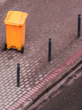 Plastic wheely bin in the street outside Stock Images