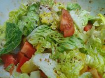 Crunchy organic homemade salad with a fresh dressing. In a plastic white bowl royalty free stock image