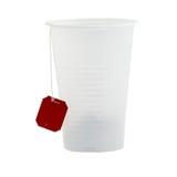 Plastic white glass about a tea bag Stock Photos