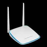 Plastic white wireless router isolated on black Royalty Free Stock Photo