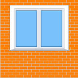 Plastic window on the background of a brick wall Stock Photography