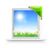 Plastic window with badge Royalty Free Stock Image