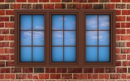 Plastic window on a brick wall Stock Photo