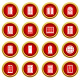 Plastic window forms icon red circle set. Isolated on white background Stock Image