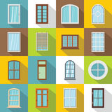 Plastic window forms icons set, flat style Royalty Free Stock Photo