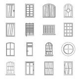 Plastic window forms icons set, outline style. Plastic window forms icons set. Outline illustration of 16 plastic window forms vector icons for web Stock Photography
